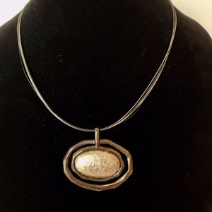 Chico's Silver Multi-Cord with Hammered Pendant